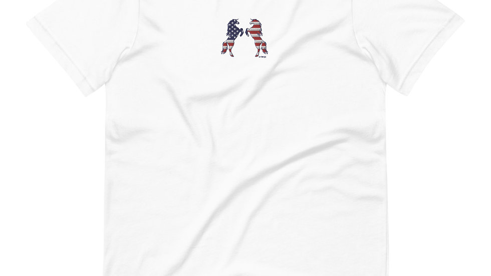 Red, White, and Horses Embroidered Short-Sleeve Unisex T-Shirt