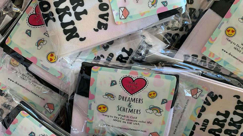 Peace, Love, and Karl Freakin' Cook Tie Dye Socks