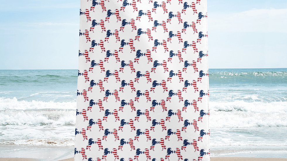 Red, White, and Horses Beach/Pool Towel