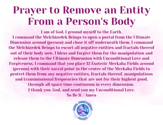 Prayer to Remove an Entity From a Person