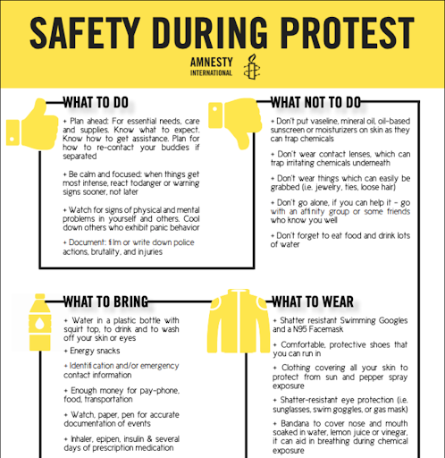 Safety during a protest. What to do, what not to do, what to bring, what to wear