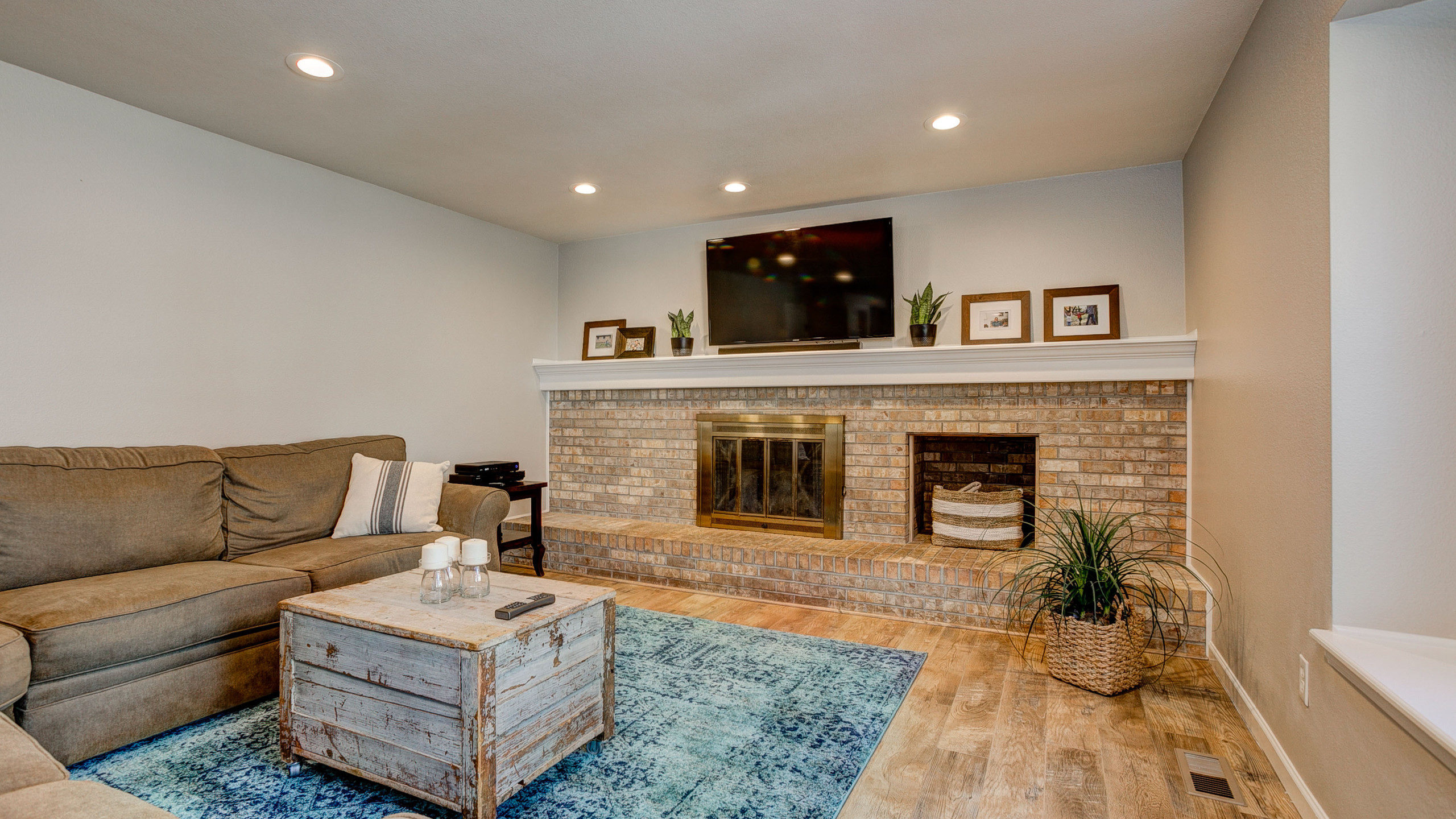 Brick Encased Fireplace w/ Hearth