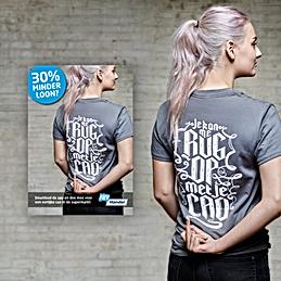 om de actie te ondersteunen kun je via een app een cool shirt bestellen