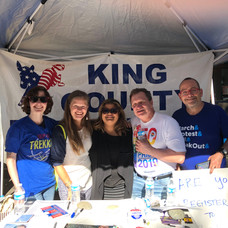 At Pride Festival recruiting volunteers and registration with King County Democrats