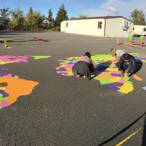 Global Map project work at Sand Point Elementary