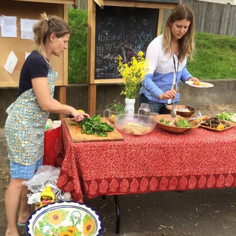 Hosting funders in Sand Point Elementary School Garden