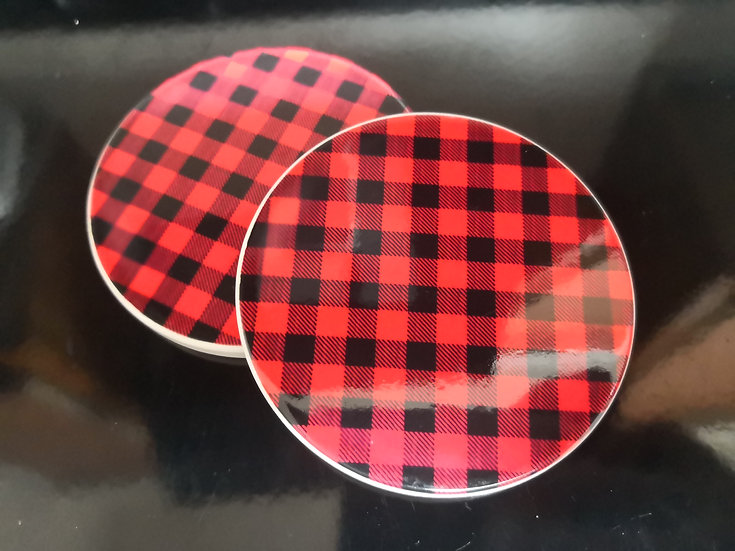 Red/Black Buffalo Check Ceramic Coasters (pack of 2)