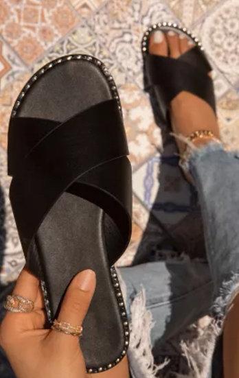 Black Flat Sandals with a Rhinestone Edge