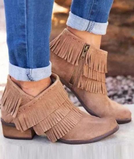 Khaki Fringed Ankle Boots