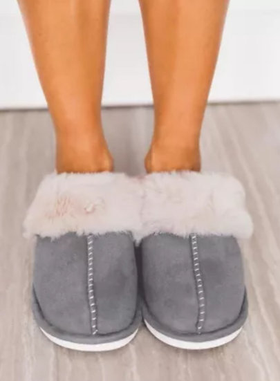 Gray Fuzzy Suede House Slippers