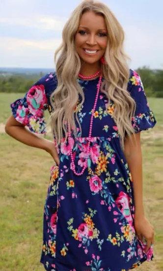 Navy Blue Ruffled Floral Dress