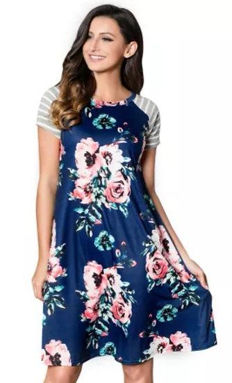 Blue Floral Print Loose T-Shirt Dress