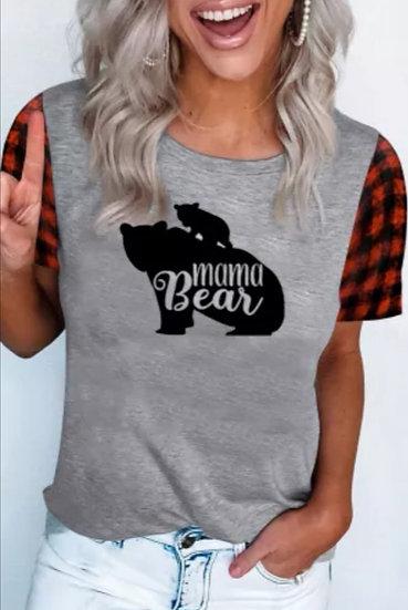 Gray Mama Bear Tee with Buffalo Short Sleeves