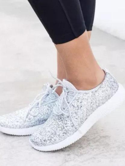 Silver Mesh Glitter Tennis Shoes
