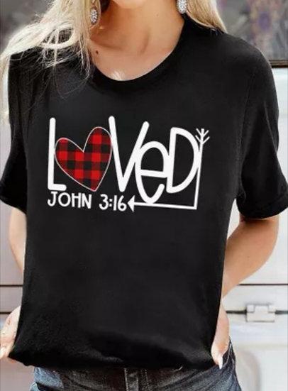 'John 3:16' 'Loved' Arrow Black T-Shirt