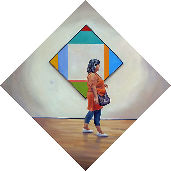 Geometric Thought, oil on panel by Andrew Bonnycastle.  A woman listening to the audio tour at the Museum of Modern Art in New York City strolls past Swiss artist Max Bill's painting Expansion in Four Directions.