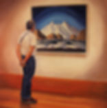Andrew Bonnycastle's painting of a gentleman admiring the Lawren Harris painting Baffin Island Mountains at the Art Gallery of Ontario