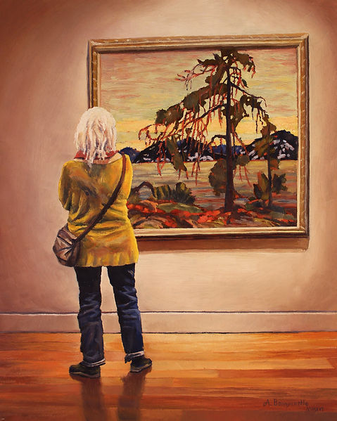 Oil painting by Andrew Bonnycastle of a woman admiring Tom Thomson's iconic painting The Jack Pine at the Art Gallery of Ontario