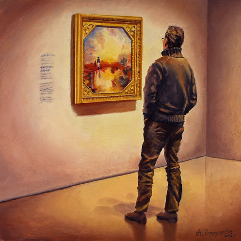 Oil painting by Andrew Bonnycastle shows a man viewing J.M.W. Turner's painting War, The Exile and the Rock Limpet at the Art Gallery of Ontario in Toronto, Ontario, Canada