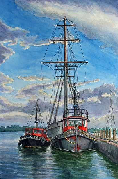 Breaking Storm over Frenchman's Bay Pickering, Ontario - Boats Painting Watercolour