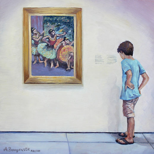 Ballet Boy, oil on hardboard by Andrew Bonnycastle.  A young boy reads the painting description beside Edgar Degas' Dancers in Green and Yellow at the Soloman R. Guggenheim Museum in New York.