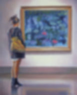 Andrew Bonnycastle's painting of a woman admiring one of Claude Monet's water lily paintings at the Art Gallery of Ontario