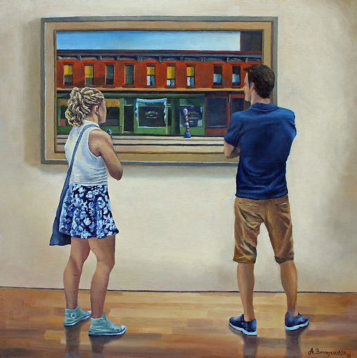 Morning People, oil on masonite by Andrew Bonnycastle.  A man and woman at the Whitney Museum of American Art in New York study Edward Hopper's iconic 1930 painting Early Sunday Morning.