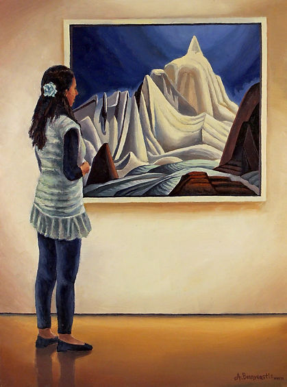 Andrew Bonnycastle's painting of a woman admiring a Lawren Harris Painting