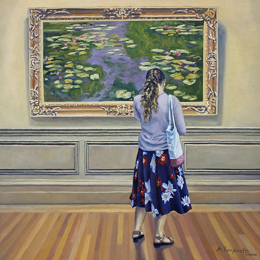Andrew Bonnycastle's painting of a woman admiring Claude Monet's Water Lilies painting at the Metropolitan Museum of Art in New York City