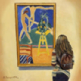 "Andrew Bonnycastle's painting of a woman at the Museum of Modern Art in New York City admiring the 1912 painting Nasturtiums with the Painting ""Dance"" I by Henri Matisse"