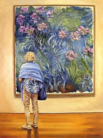 Garden Variety, oil on panel. A woman at the MOMA in NYC admires Claude Monet's painting Agapanthus.  Monet was always on the lookout for new and exotic flowers for his legendary garden at Giverney.  The flowers seen in the painting are Agapanthus - a thin, wispy lily plant native to Africa.  He planted these along the banks of his water-lily pond.