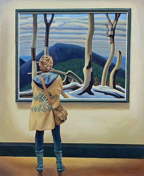 Andrew Bonnycastle's painting of woman admiring a painting by Group of Seven member Lawren Harris at the Art Gallery of Ontario