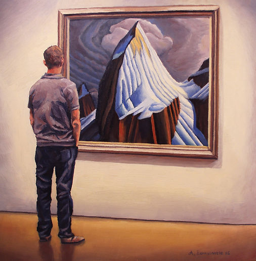 Painting by Andrew Bonnycastle of a man viewing the Lawren Harris painting Mt. Lefroy at the AGO on loan from the McMichael