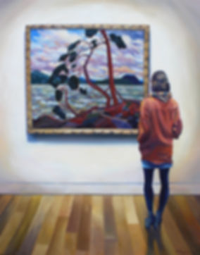 "Andrew Bonnycastle""s painting of a woman admiring Tom Thomson's iconic final painting The West Wind at the Art Gallery of Ontario"