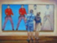 Andrew Bonnycastle's painting of a coule standing in frot of Andy Warhol's Elvis I and II at the Art Gallery of Ontario.
