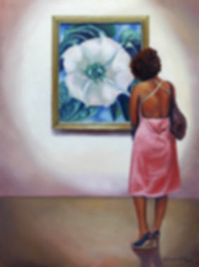 Andrew Bonnycastle's painting of a woman admiring Gergia O'Keeffe's Jimson Weed/White Flower No. 1 at te Art Gallery of Ontario.
