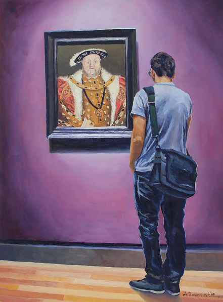 Andrew Bonnycastle's painting of a young man viewing a portrait of England's King Henry VIII by Circle of Hans Holbein the Younger in the Art Gallery of Ontario.