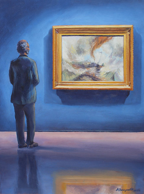 "Painting of a man admiring J.M.W. Turner's ""Snow Storm"" by Andrew Bonnycastle"