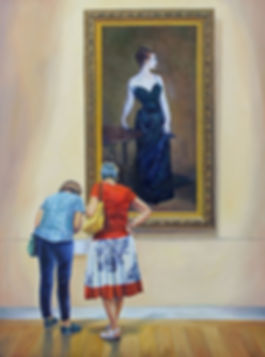 Cold Shoulder, oil on hardboard by Andrew Bonnycastle.  A couple of ladies at the MET in New York stop to read the label in front of John Singer Sargent's iconic portrait of Madame X.