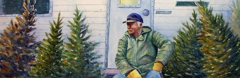 Christmas Holiday Tree Salesman Painting Watercolour Watercolor