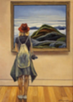 Andrew Bonnycastle's painting of a woman at the Art Gallery of Ontario admiring Franklin Carmichael's painting of Lake Superior