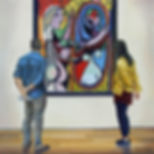 Mirroring, oil on panel by Andrew Bonnycastle. Two visitors to the Museum of Modern Art in New York City view Pablo Picasso's 1932 painting Girl before a Mirror.