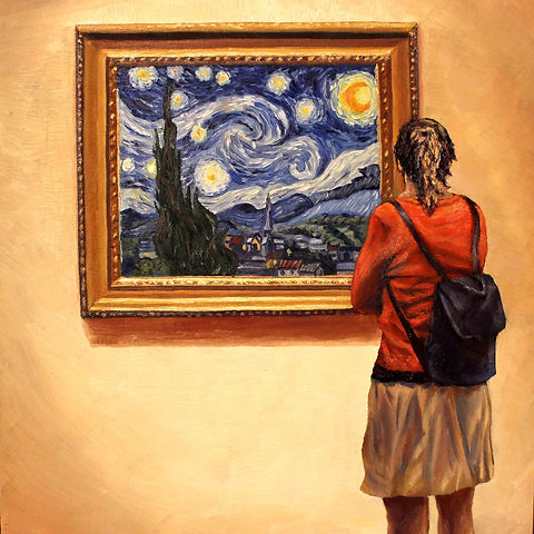 Starstruck, oil on hardboard by Andrew Bonnycastle.  A woman stops to admire Vincent Van Gogh's famous 1889 painting The Starry Night.