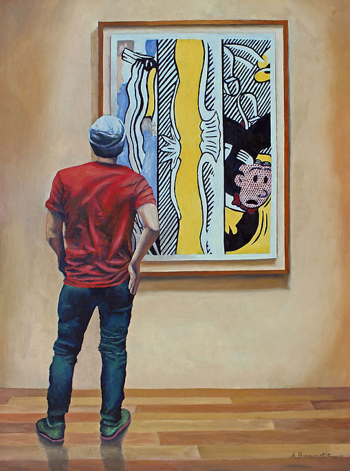 Andrew Bonnycastle's painting of a young man admiring Roy Lichtenstein's Two Paintings: Dagwood at the Art Gallery of Ontario.
