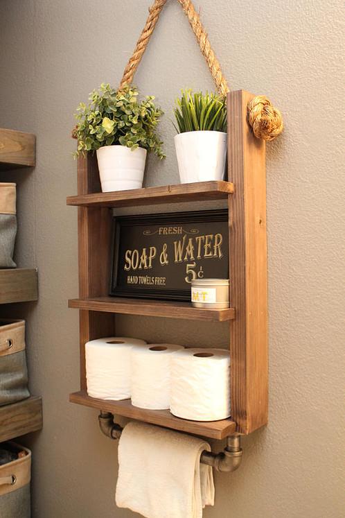 Rustic Bathroom Storage Shelf With Industrial Pipe Towel Bar