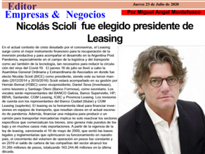 NICOLÁS SCIOLI FUE ELEGIDO PRESIDENTE DE LEASING.