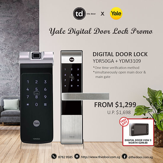 Yale YDR50GA + YDM3109A Digital Door Lock Bundle Deal