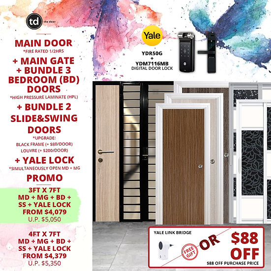 Laminate Fire Rated Main Door+ Main Gate+ 3 Bed / 2 Slide+ Yale YDR50G/YDM7116A