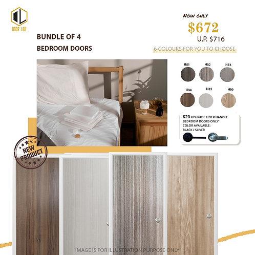 Package of 4- Melamine Semi Hollow Bedroom Doors