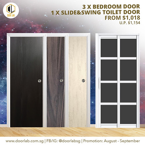 Package of 3  Laminate Bedroom Doors + Slide & Swing Toilet Door